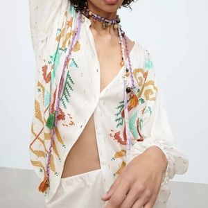 Isola Boho Puff Sleeve Button Down Swing Top
